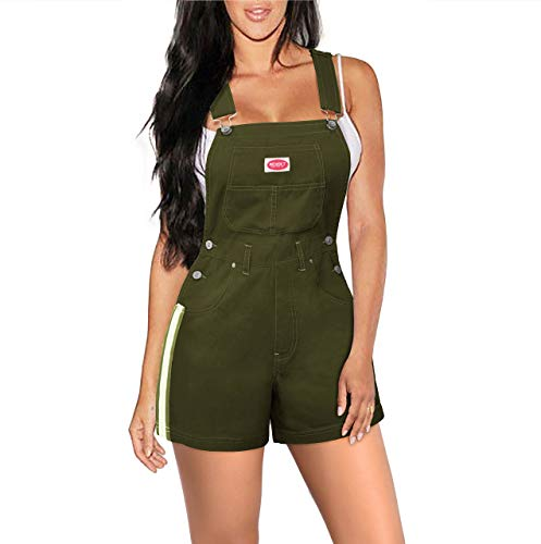 Revolt Women's Bib Shortalls SHVJ1200. Olive M (Shortall Striped White)
