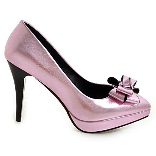 Slip Heel High Shoes Simple TAOFFEN On Women Bow Heel Pink Cone Platform Pumps f0wxIt