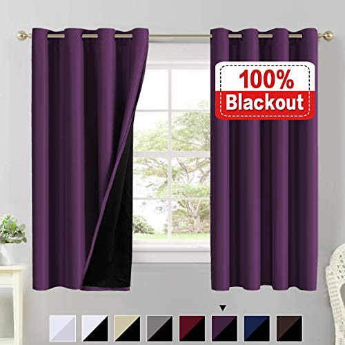 Flamingo Plum - Flamingo P 100% Blackout Curtains 63 Length Thermal Insulated Energy Saving Lined Curtains Faux Silk Satin with Black Liner Window Treatment Panels, Double Layer Drapes, Set of 2, Indigo Plum