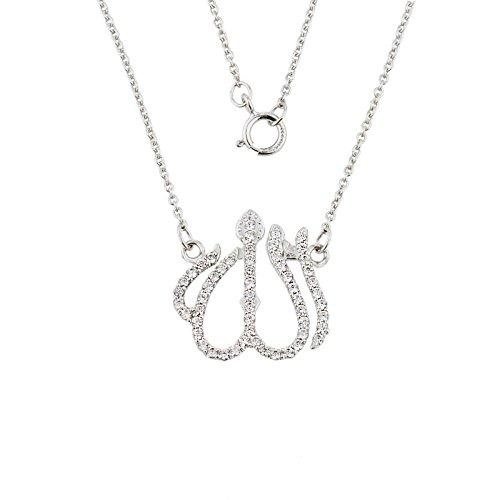 Petits Merveilles D'amour - 14 ct Or 585/1000 de Diamants Blanc Allah Collier pendentif with Rolo Chaîne.