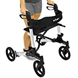 Folding Rollator Walker by Vive - 4 Wheel Medical Rolling Walker with Seat & Bag - Mobility Aid for Adult, Senior, Elderly & Handicap - Aluminum Transport Chair (White)
