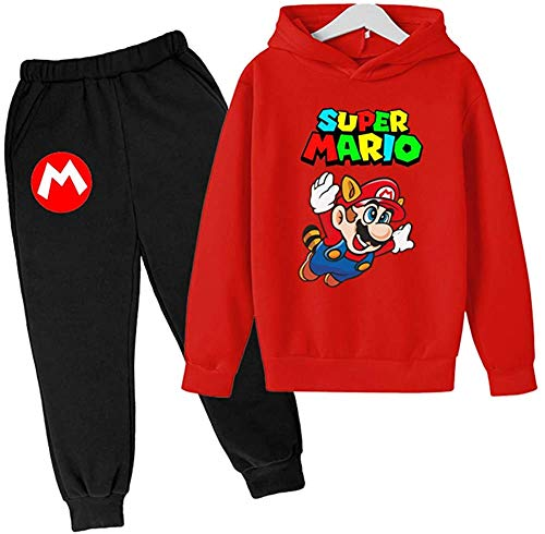 AMCYT Mario print hoodie pullover en broek unisex kinderkleding maat 100-160