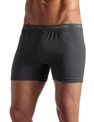 Calvin Klein Men's Slim Fit Knit Boxer, Charcoal Heather