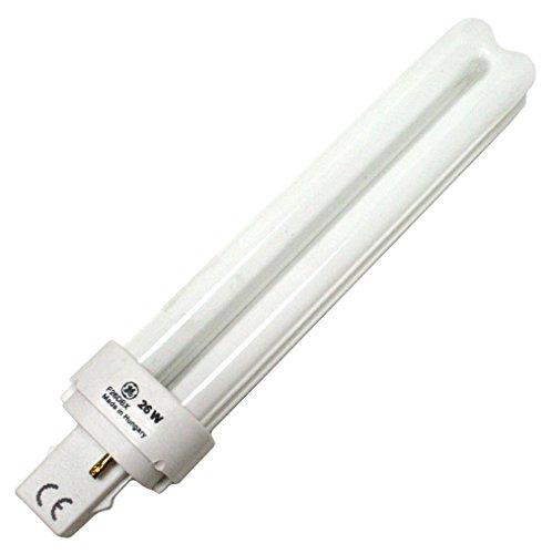 GE 97609 (6-Pack) F26DBX/841/ECO 26-Watt Quad-Tube Compact Fluorescent Light Bulb, 4100K, 1710 Lumens, T4 shape, G24d-3 bi-pin base ()