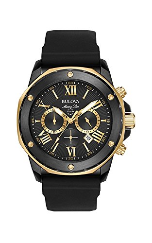 Black Bulova Watch (Bulova Men's Quartz Stainless Steel and Silicone Casual Watch, Color:Black (Model: 98B278))