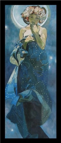 buyartforless IF PA PP31094A 34x14 2 Blk Framed The Moon by Alphonse Mucha 34X14 Art Print Poster Art Nouveau Period Famous Painting Illustration Art Nouveau Mystical Alphonse Mucha Paintings