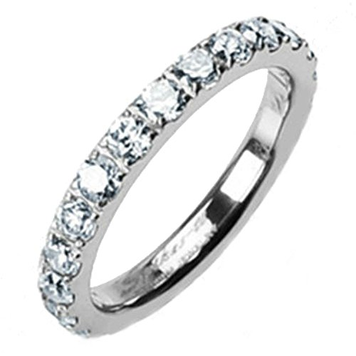3mm High Polished Titanium Round CZ Cubic Zirconia Eternity Wedding Band - Size 8
