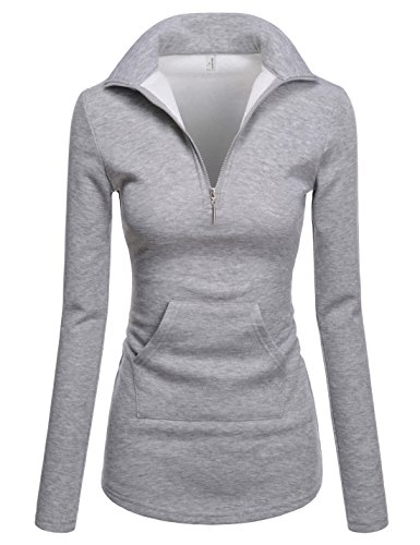 NEARKIN (NKNKWTT791 Women Soft Fleece Lined Comfy Slim Cut Upturned Collar Zipup Tshirts Gray US M(Tag Size L)