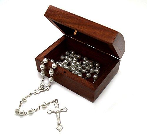Catholic Glass Pearl Prayer Beads Rosary Silver Plated Cross Crucifix Wooden Decorative Box