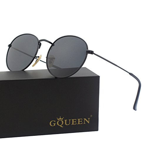 GQUEEN Vintage Round Mirrored Polarized Sunglasses with UV400 Protection - All Black Sunglasses