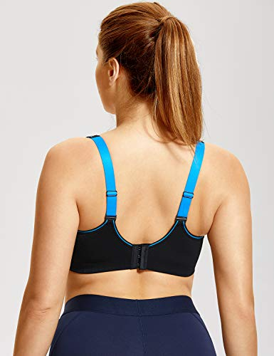 8a8563cb2f SYROKAN Women s Bounce Control Wirefree High Impact Full Figure Support  Sports Bra Black 44C