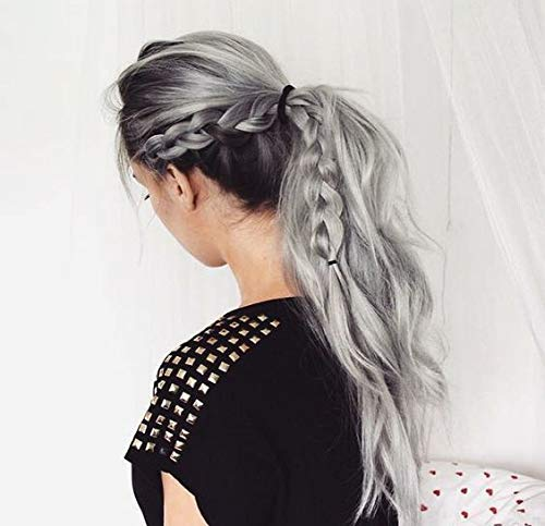 - VeSunny Gray Pony Tails Hair Extensions Wrap Around Ponytail Clip on Extension Remy Straight Human Hair With Salon Quality 20inch 80G/Set