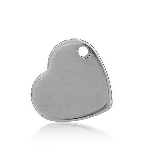 Heart Charm Findings (VALYRIA 50pcs Handle Polished Silver Tone Stainless Steel Blank Stamping Tags Heart Charm Pendant 11mm x 10mm(3/8