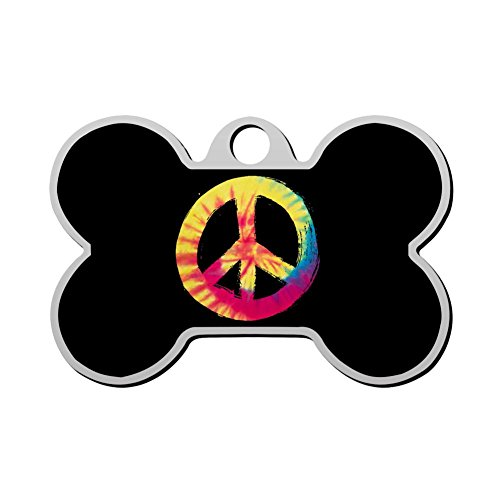 - HAOPENGYOU Custom Humor Funny Pet ID Name Tag Peace Symbol Personalized Front and Back Bone Shape Dog Tags & Cat Tags