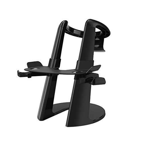 AFAITH VR Headset Display Stand, 3D Glass Display Stand with Game Controller Holder for Oculus Rift Headset (Black)