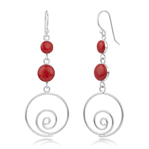 925 Sterling Silver Natural Red Sea Bamboo Coral Inlay Round Long Drop Dangle Earrings 2.3