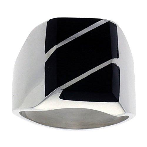 Sterling Silver Black Obsidian Ring for Men Rectangular Diagonal Stripes Solid Back Handmade, size 9