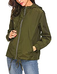 Womens's Waterproof Lightweight Rain Jacket Outdoor...