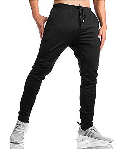MINHAO Men's Sweatpants Slim Fit Joggers Zipper Ankle Running Trousers with Pockets Black (Best Slim Fit Sweatpants)