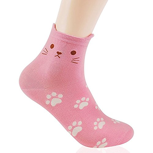 OKIE OKIE Womens Best Socks Gift Set-Cute Animals Art Cartoon Character Funny Novelty Crew (Animal - Cat Foot Print Pink 1pc)