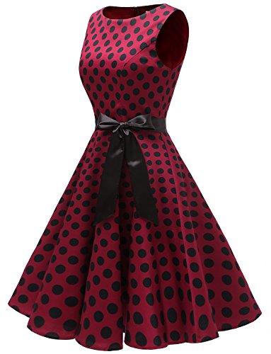 Pin Burgundy Black Mangas Vestidos Up Retro Gardenwed Fiesta Mujer Sin Cóctel Dot q1xWR0zf