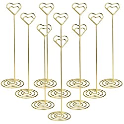 10pcs Table Number Holder Gold Wedding Place Card Holder, Picture Photo Holders 8.6 Inch Tall - Note Menu Memo Clips for Party Gatherings