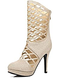 Yaloee Womens Short Boots Fashion Elegant Square High Heels Zipper Party Dress Ankle Boots