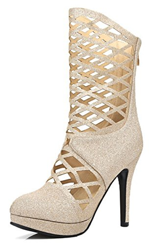 Women's Round Toe Platform High Heels Club Shoes with Cut Out - 7