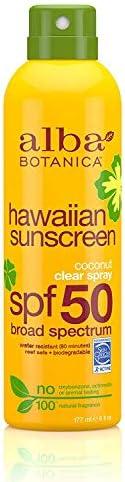 Alba Botanica Hawaiian Sunscreen Clear Spray, SPF 50, Coconut, 6 Oz