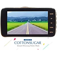 CottonSugar Hazens T4 HD1080P Dual Lens Driving Camera, 170 Degree Wide, Video Recorder, Front/Rear Dual Camera, 4.7 Inch LED