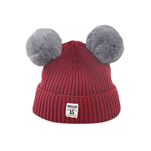Price comparison product image Knitted Wool Hemming Hats Vibola Fashion Baby Children Cute Ball Cap Keep Warm Winter Hats (Wine)