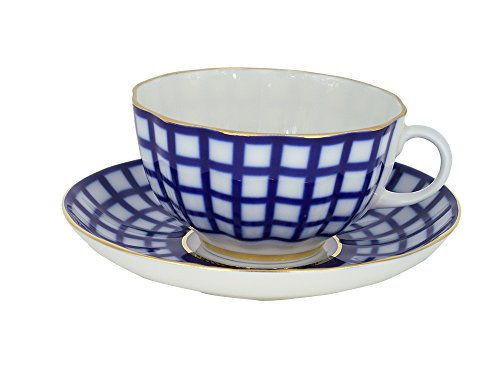 Lomonosov Porcelain Tea Set Cup and Saucer Cobalt Cell 8.45 oz/250 ml