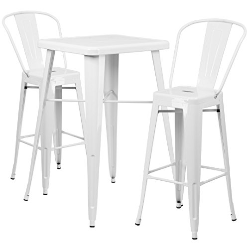 MFO 23.75'' Square White Metal Indoor-Outdoor Bar Table Set with 2 Barstools with Backs