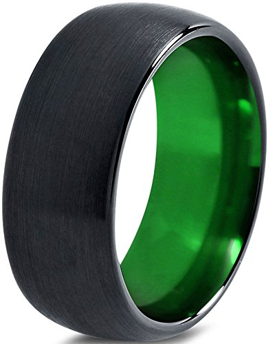 Tungsten Wedding Band Ring 10mm for Men Women Green Black Domed Brushed Polished Lifetime Guarantee