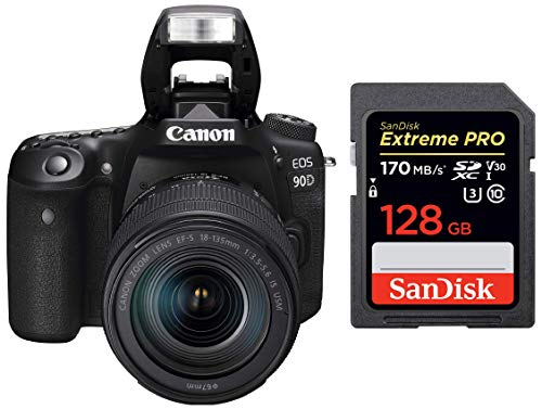 Canon EOS 90D Digital SLR Camera with 18-135 is USM Lens with 16GB Card + SanDisk 128GB Extreme Pro SDXC UHS-I Card – C10, U3, V30, 4K UHD, SD Card