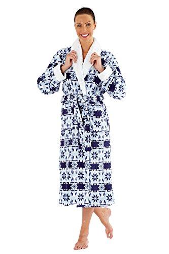 Intero Donna Pile Pigiama in Blue Manica Lunga Robe 6wvXdg4Xqx