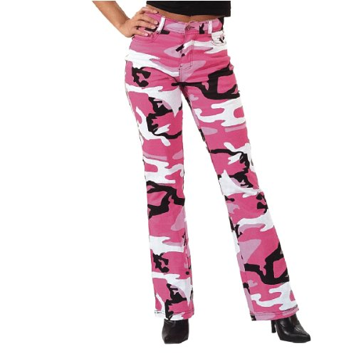 Women's Stretch Flare Pants, Pink Camo, 3-4 Size
