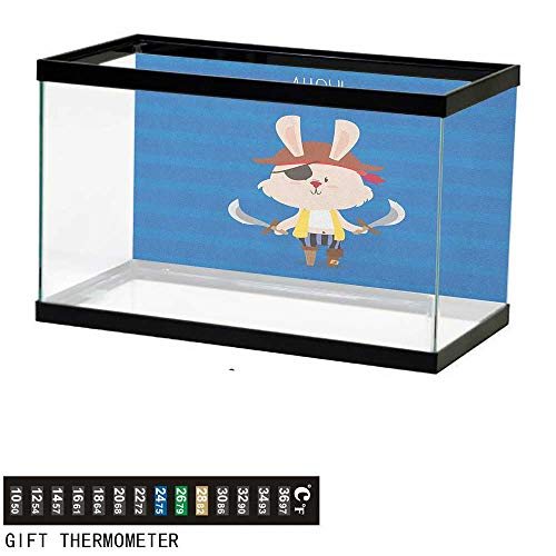 (Jinguizi Ahoy Its a BoyFish Tank BackdropPretty Pirate Rabbit Bunny with Eye Patch Funny Graphic Cartoon Illustration48 L X 24