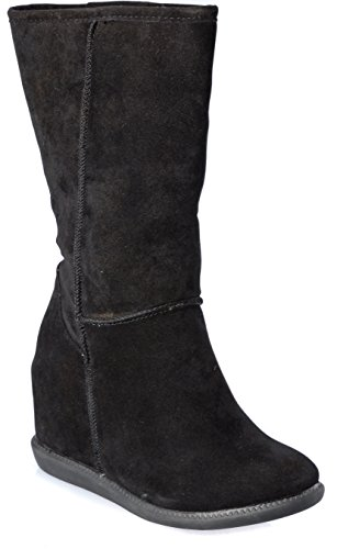 Womans Wedge Suede Shoes Fashion Black Faux High Boots Claf Mid ZSqPZr