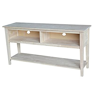 """International Concepts Unfinished Entertainment/TV Stand, 72-Inch, Unfinished - Constructed of unfinished solid parawood One fixed shelf; dimensions of shelf: 69.29 ''W x 13.77''d Three compartments; inside dimensions of compartments: 21.45w X 13.97""""d X 7.87"""" H - tv-stands, living-room-furniture, living-room - 41CTUfhYOeL. SS400  -"""
