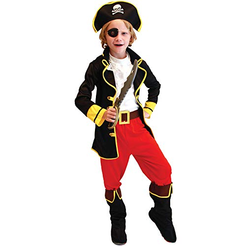 uniquetj Child's Captain Pirate Boy Costume with Hat,Eyepatch (M(Suitable for Height:43-47''))
