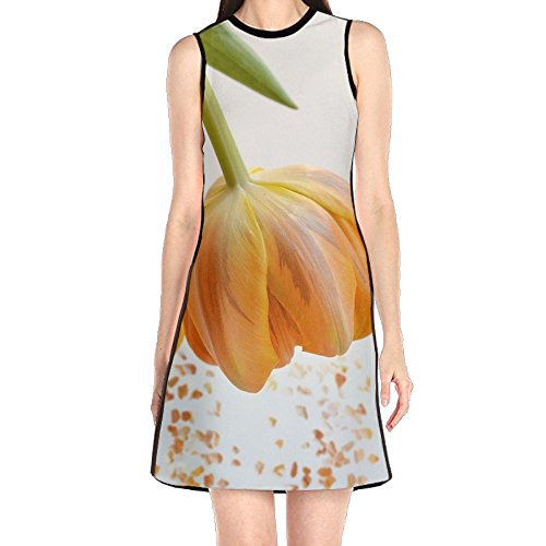 Flower Tulip Orange Blossom Petals Orange Flower Orange Spring Flowers Spring Flowers Women's Fashion Sleeveless Mini Dress Print Party Dress Tank Dress (Dress Petal Tulip)