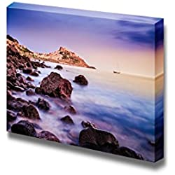 "Canvas Prints Wall Art - Ocean Coastline with Village in the Background at Sunrise, Castelsardo, Sardinia, Italy Nature Beauty | Modern Wall Decor/ Home Decoration Stretched Gallery Canvas Wrap Giclee Print & Ready to Hang - 24"" x 36"""