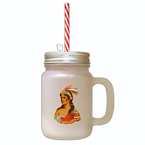 A Jar In Costume Head Mason (Lady In A Costume Feathers On Head Frosted Glass Mason Jar with)