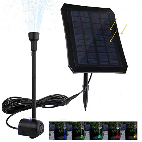 jerayley Solar Fountain 2.5W Solar Panel Kit 200L/H Submersible Water Pump for Bird Bath Pond, Pool, Garden, Fish Tank, Aquarium, Solar Powered Outdoor and Indoor Use (2.5W) by jerayley