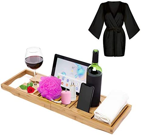 Luxury Bathtub Caddy Tray-with Expandable Sides, Waterproof Tablet, Wine, Candle, Phone Holder and Organizer and Free Bonus Silky Satin Spa Bathrobe