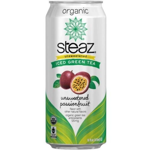 Steaz Organic Unsweetened Passionfruit Iced Green Tea, 16 Fluid Ounce - 12 per ()