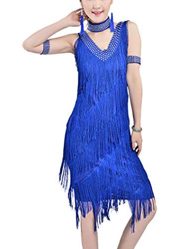 [V Neck Beaded Embellished 1920's Flapper Inspired Style Flapper Dress XL] (Blue Flapper Dress)