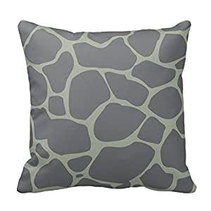 Dark Gray Giraffe Animal Print Zippered Decorative Pillow Cushion Case Covers for Sofa 16x16 Inch Two Sides