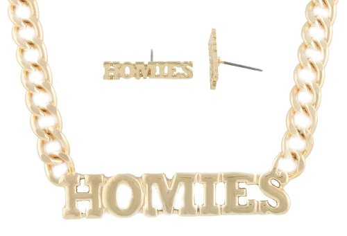 "2 Sets of Gold ""Homies"" Block Lettering Pendant with a 19 Inch Cuban Chain Necklace & Matching Stud Earrings Jewelry Set"